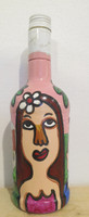 SOLD! Jose Fuster #6511  Untitled, 2007. Mixed media on glass bottle. 10 x 3.5 inches.