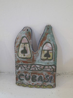 "SOLD! Jose Fuster #6549  ""Cuba si,"" N.D. Glazed clay. 9.5 x 6.5 inches."