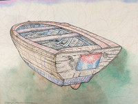 "Tonel (Antonio Eligio Tonel) #5134. ""El bote,"" 1998. Ink and watercolor on paper. 18 x 24 inches. SOLD!"
