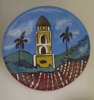 Azariel Santander #6560  (SL)  Untitled, N.D. Hand painted ceramic plate from Trinidad de Cuba. 8 inches diameter. SOLD!