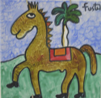 Fuster (José Rodríguez Fuster) #6548  Untitled, N.D. Hand painted ceramic tile. 8 x 8 Inches. SOLD!