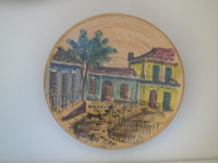 SOLD! Azariel Santander #6583 (SL)  Untitled, N.D. Hand painted ceramic plate from Trinidad de Cuba. 5.5 inches. diameter.