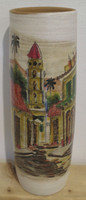 SOLD! Azariel Santander  #6568 (SL)  Untitled, N.D. Hand painted ceramic vase from Trinidad de Cuba. 11 x 3.5 inches.