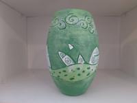 Alejandro Bastida Lopez #6532 Ceramic vase from Trinidad de Cuba. 8 x 5 inches.