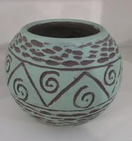 Alejandro Bastida Lopez #6562 Ceramic vase from Trinidad de Cuba. 4.5 x 5 inches.
