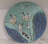 Alejandro Bastida Lopez #6550  Ceramic plate from Trinidad de Cuba. 10 inches diameter.