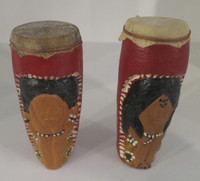 Eduardo Cordova #6566  (SL)  Hand painted Cermic drums. 4 x 1.5 inches.