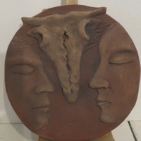 Martha Jimenez #6586  Untitled, N.D. Clay disc from Camaguey, Cuba. 8.5 inches diameter.
