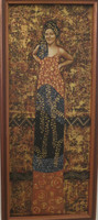 "Evelyn Alvarez #6120  ""De la serie: Femme fetale,"" 2015. Acrylic on canvas. 21"" x 9 inches. Framed."