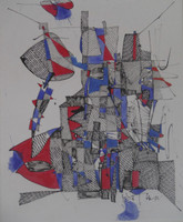 SOLD! Nestor Vega #5522  Untitled, N.D. Ink on paper. 12 x 10 inches.