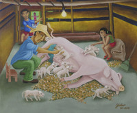 Giober #6539  Untitled, 2016. Oil on canvas. 9.25 x 10.75 inches.