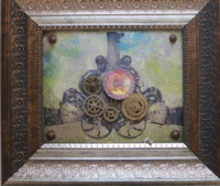 "Dagoberto Driggs Dumois #8093  Untitled, ND. Mix media, framed, 12"" x 13 inches."