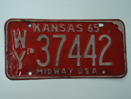 1965 KANSAS Midway USA License Plate WY 37442