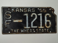 1955 KANSAS State Shaped License Plate SF 1216