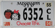 2004 Jun Mississippi Choose Life License Plate