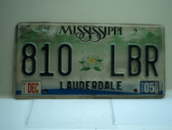 2005 MISSISSIPPI Magnolia License Plate 810 LBR