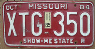 1985 Oct Missouri XTG-350 License Plate DMV Clear YOM