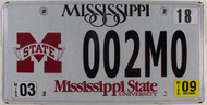 2009 Mar Mississippi State Univ License Plate