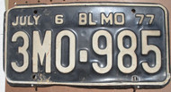 1977 July Missouri 3M0-985 License Plate DMV Clear YOM