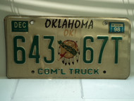 1998 OKLAHOMA Commercial Truck License Plate 643 67T