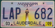 2009 Mar Mississippi LAP 682 License Plate