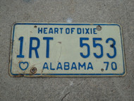 1970 ALABAMA Heart Of Dixie License Plate 1RT 553