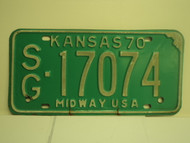 1970 KANSAS Midway USA License Plate SG 17074