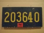 1967 September Delaware 203640 License Plate