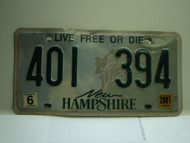 2001 NEW HAMPHIRE Live free or Die License Plate 401 394