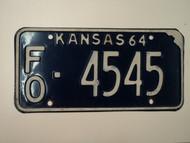 1964 KANSAS License Plate FO 4545