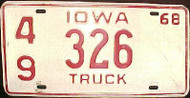 1968 Jackson Co Iowa 49 326 Truck License Plate