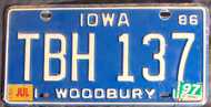 1997 Jul Iowa TBH127 License Plate