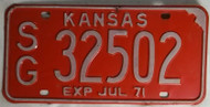 1971 Kansas SG 32502 License Plate
