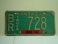 1970 KANSAS Farm Truck License Plate BR 728