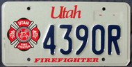 Utah Firefighter 4390R License Plate Fire Fighter