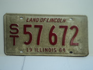 1968 ILLINOIS Land of Lincoln License Plate ST 57 672