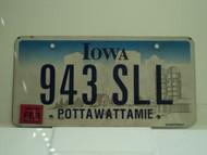 2008 IOWA License Plate 943 SLL
