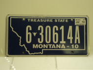 2010 2013 MONTANA Treasure State License Plate 6 30614A