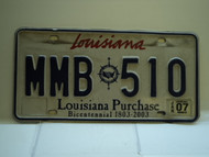 2007 LOUISIANA Bicentennial Purchase License Plate MMB 510