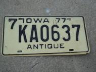 1977 IOWA ANTIQUE License Plate 7 KAO637