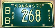 1973 Bourbon Co Kansas Non Hiway 268 License Plate