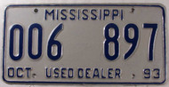 1993 Oct Mississippi Used Dealer 006 897 License Plate