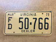 1979 Mar Virginia Dealer FD 50-766 License Plate