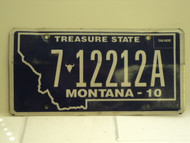 2010 MONTANA Treasure State License Plate 7 12212A