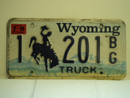 1999 WYOMING Bucking Bronco Truck License Plate 1 201 BG