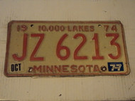 1974 1977 MINNESOTA 10,000 Lakes License Plate JZ 6213
