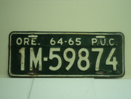 1964 1965 OREGON PUC Public Utilities Commission License Plate 1M 59874
