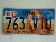 UTAH Centennial 1896 License Plate 763 VTU