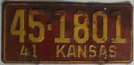 1941 45-1801 Kansas License Plate sunflower