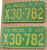 PAIR 1976 Oct Missouri X30-782 License Plate DMV Clear YOM